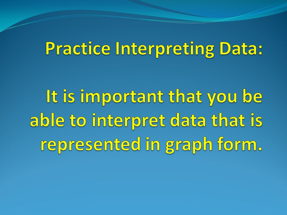 Practice Interpreting Data: It is important that you be able to interpret data that is represented in graph form.