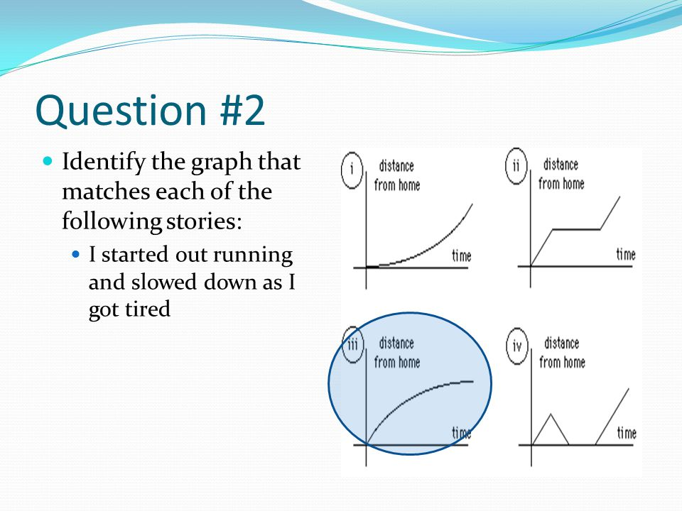 Question #2 Identify the graph that matches each of the following stories: I started out running and slowed down as I got tired.