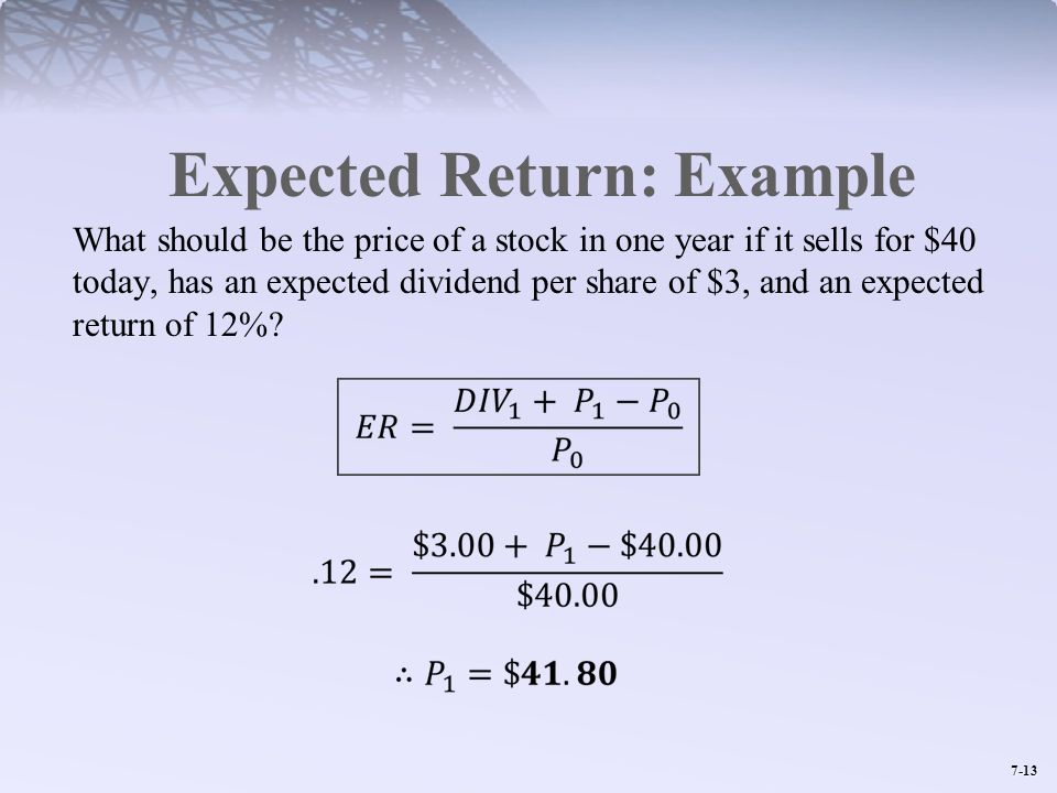 Expected Return: Example