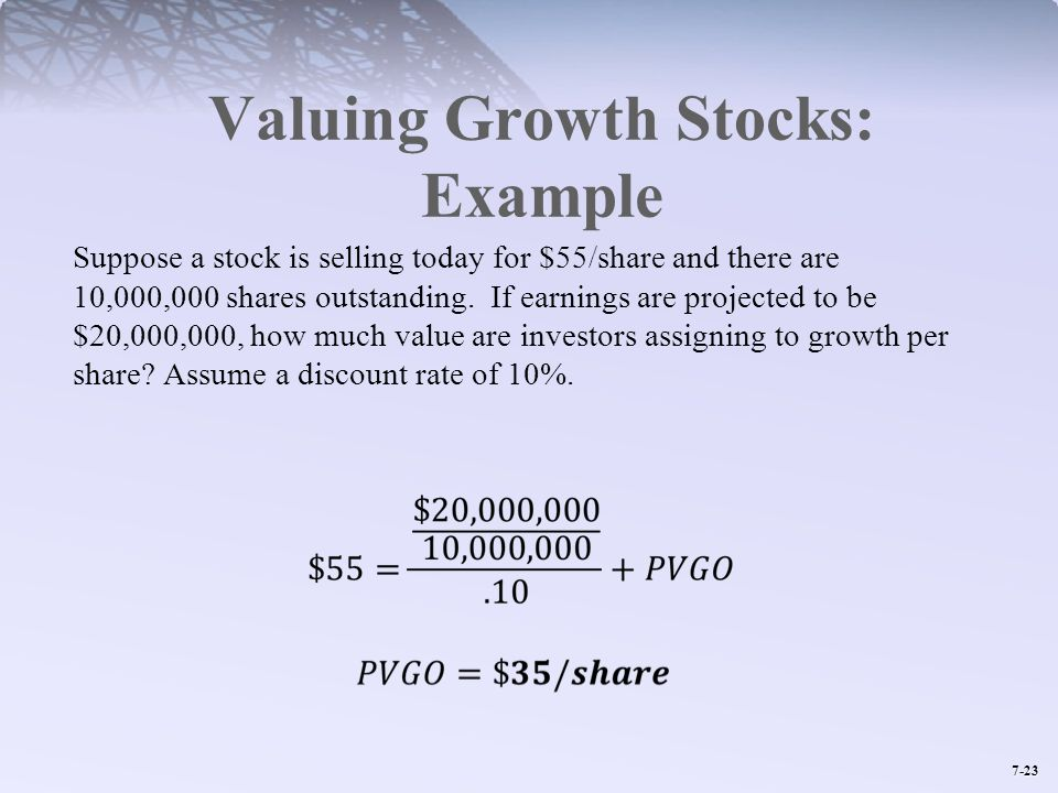 Valuing Growth Stocks: Example
