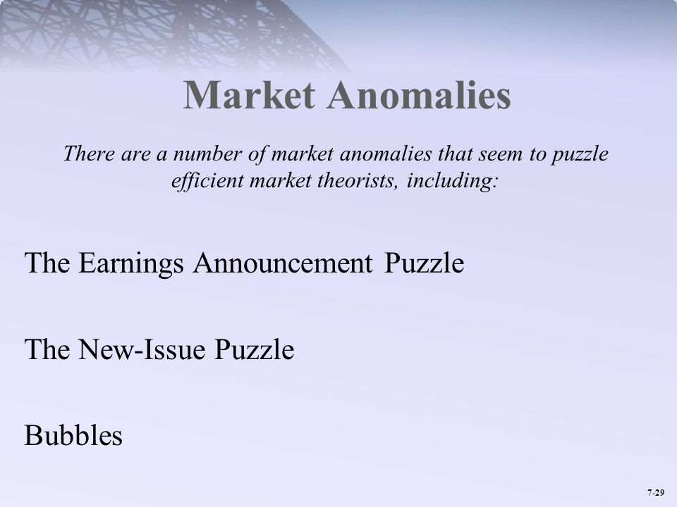 Market Anomalies The Earnings Announcement Puzzle The New-Issue Puzzle