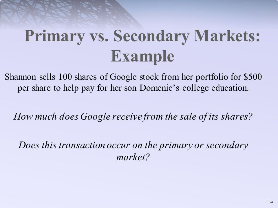 Primary vs. Secondary Markets: Example