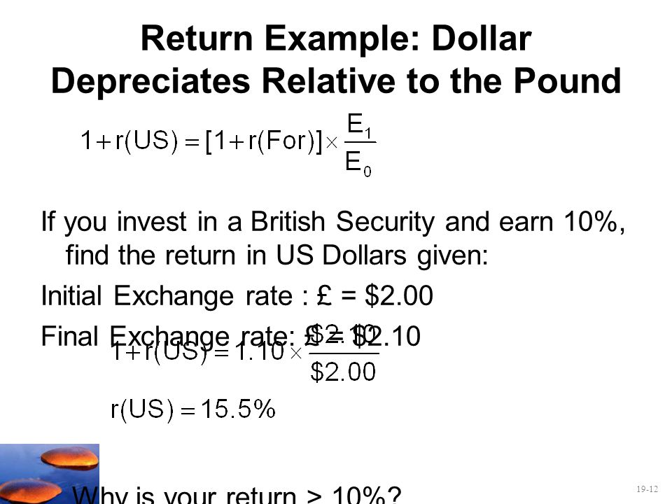 Return Example: Dollar Depreciates Relative to the Pound