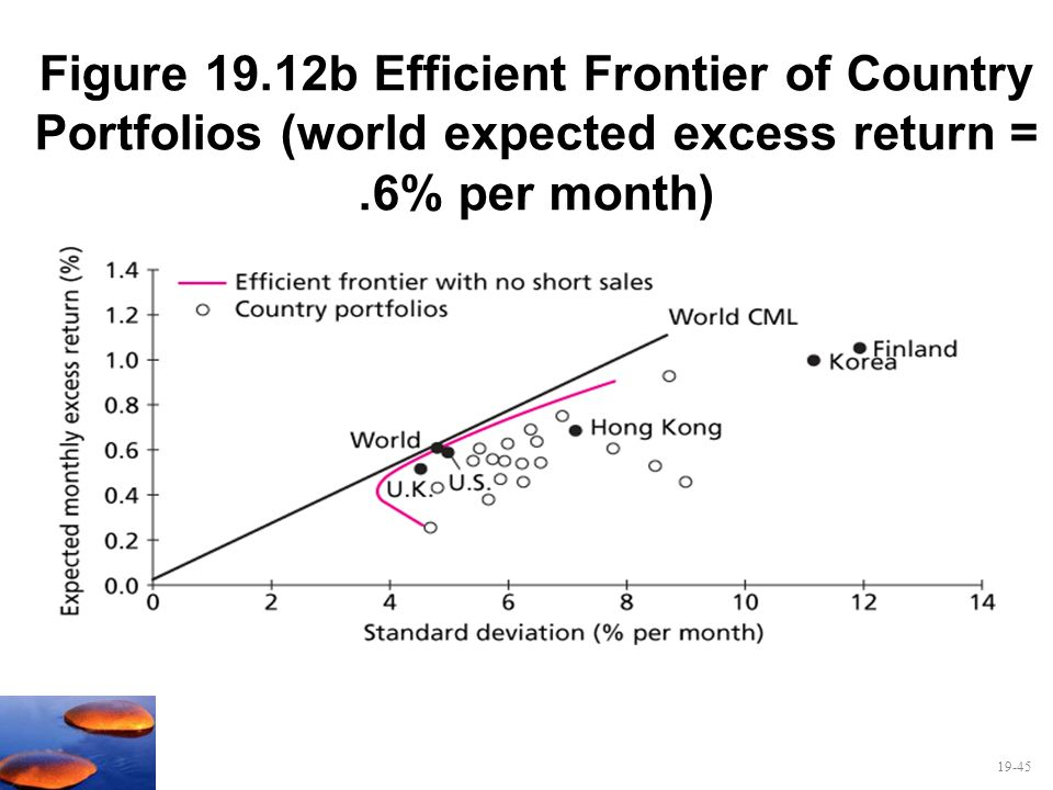 Figure 19.12b Efficient Frontier of Country Portfolios (world expected excess return = .6% per month)
