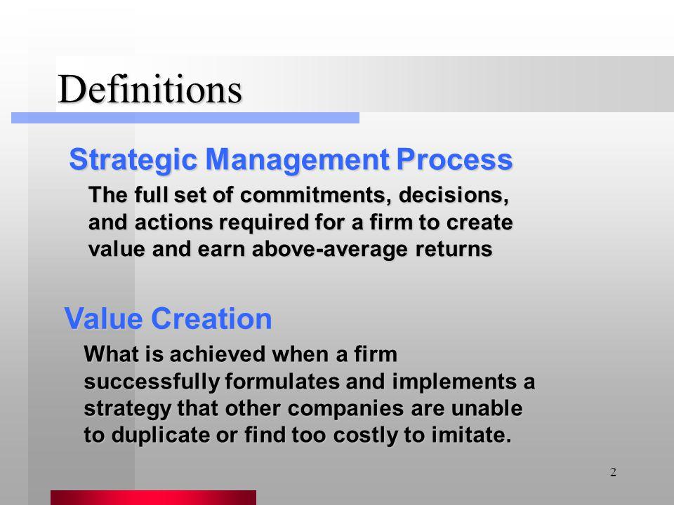 Definitions Strategic Management Process Value Creation