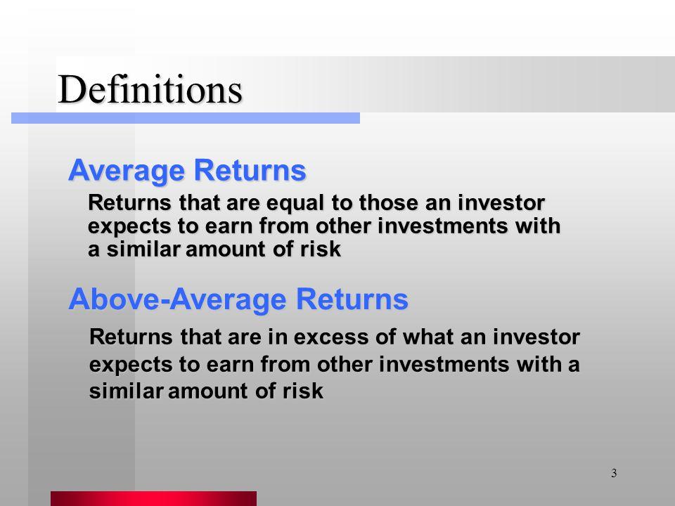 Definitions Average Returns Above-Average Returns