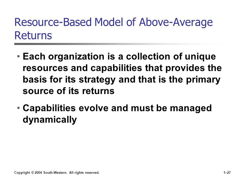 Resource-Based Model of Above-Average Returns