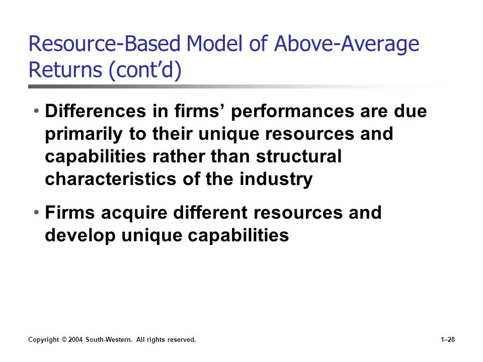 Resource-Based Model of Above-Average Returns (cont'd)