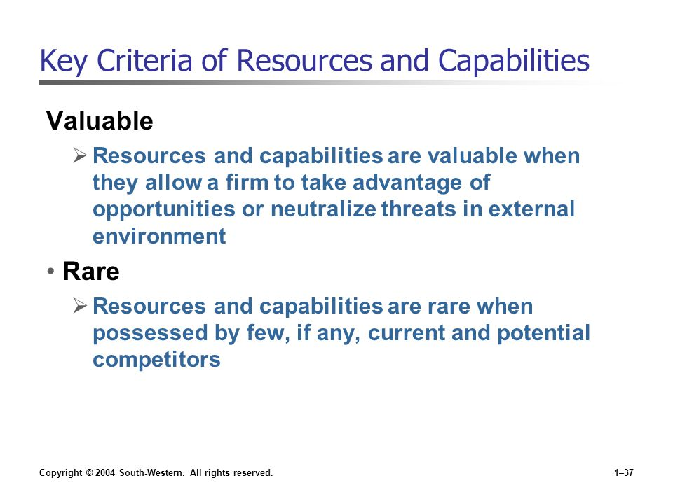 Key Criteria of Resources and Capabilities