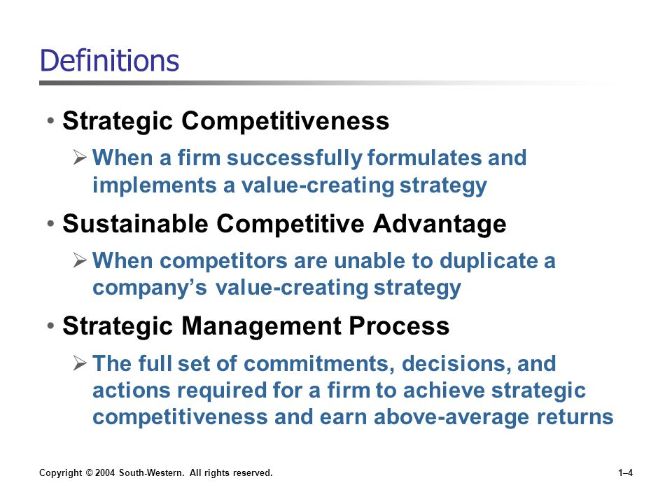 Definitions Strategic Competitiveness