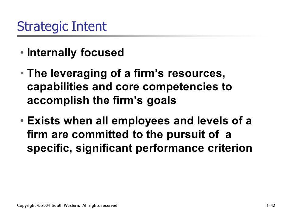 Strategic Intent Internally focused
