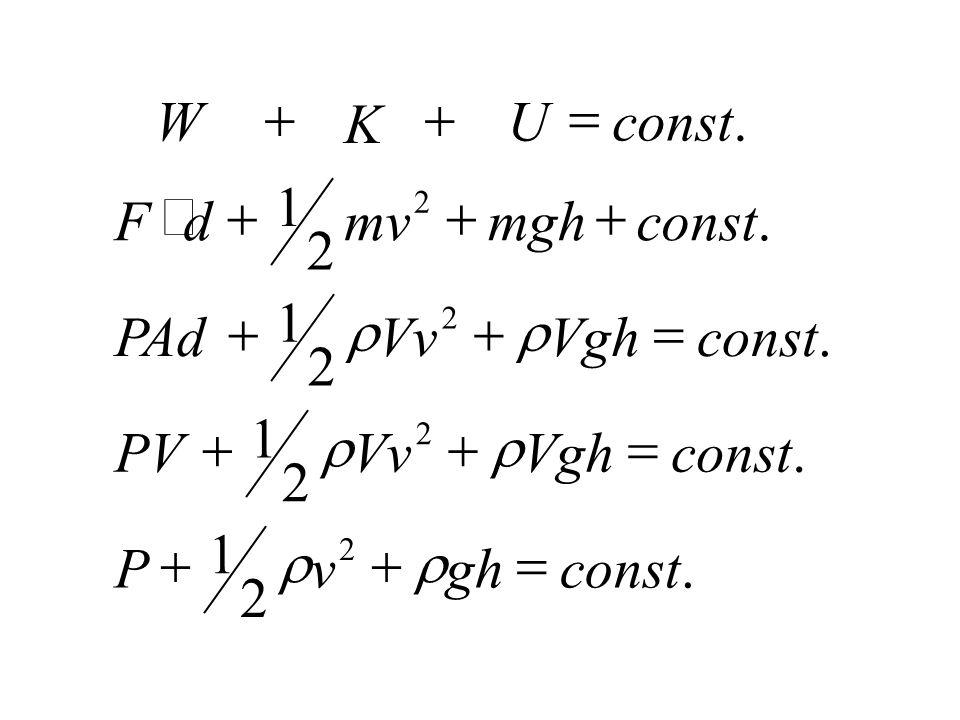 = W + + K U const . 1 × + + + F d mv mgh const . 2 1 + r + r = PAd Vv