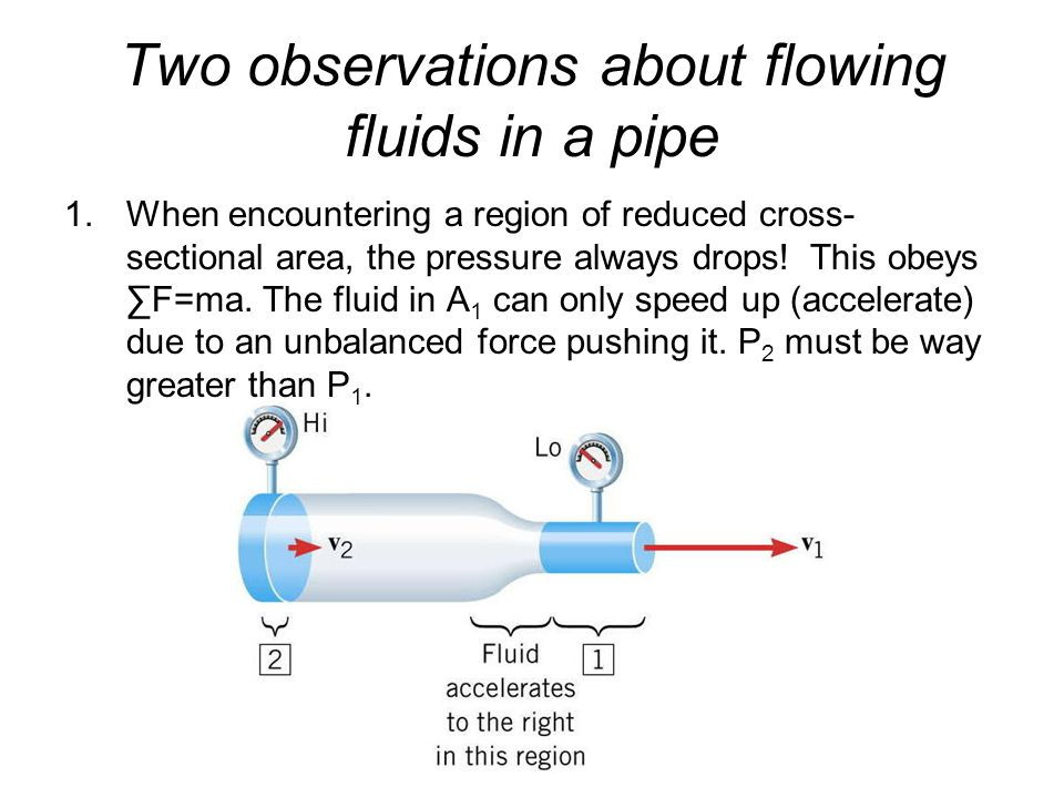 Two observations about flowing fluids in a pipe