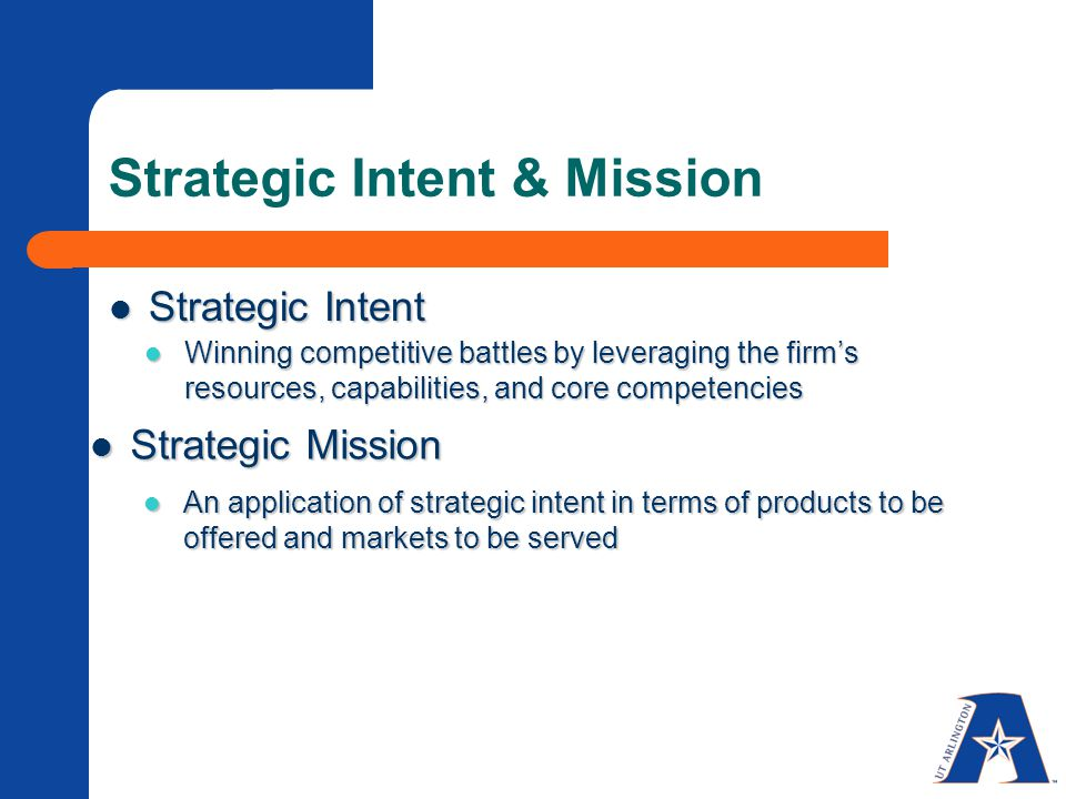 Strategic Intent & Mission