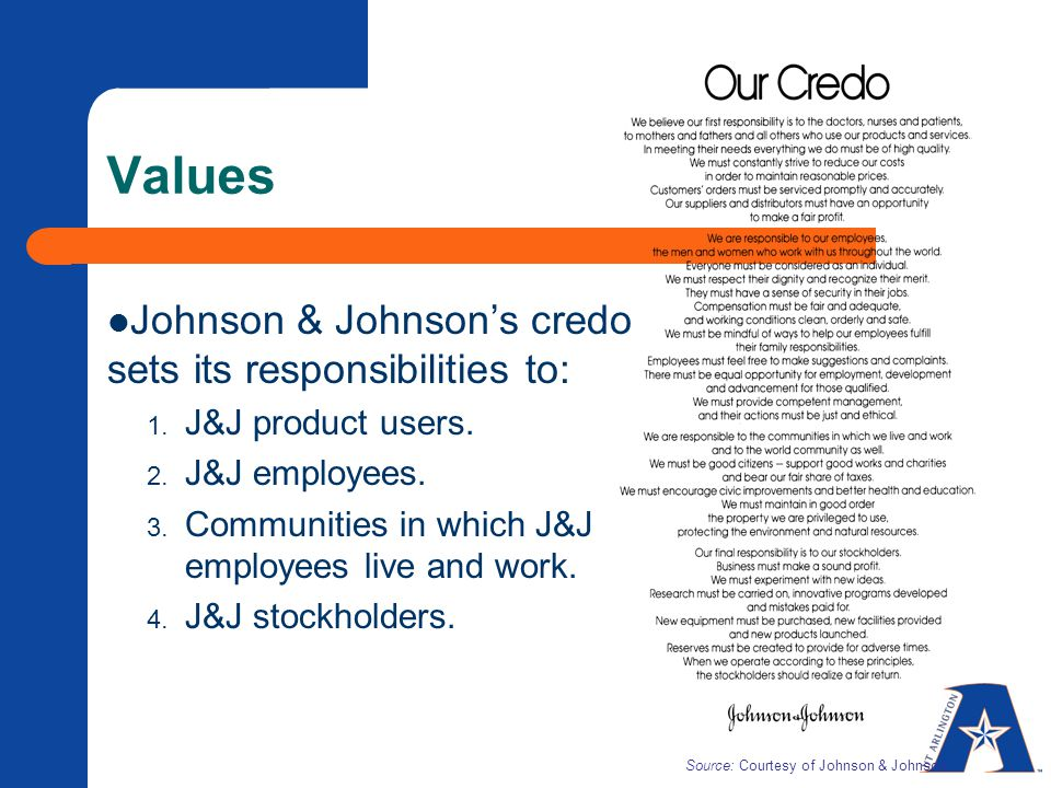 Values Johnson & Johnson's credo sets its responsibilities to: