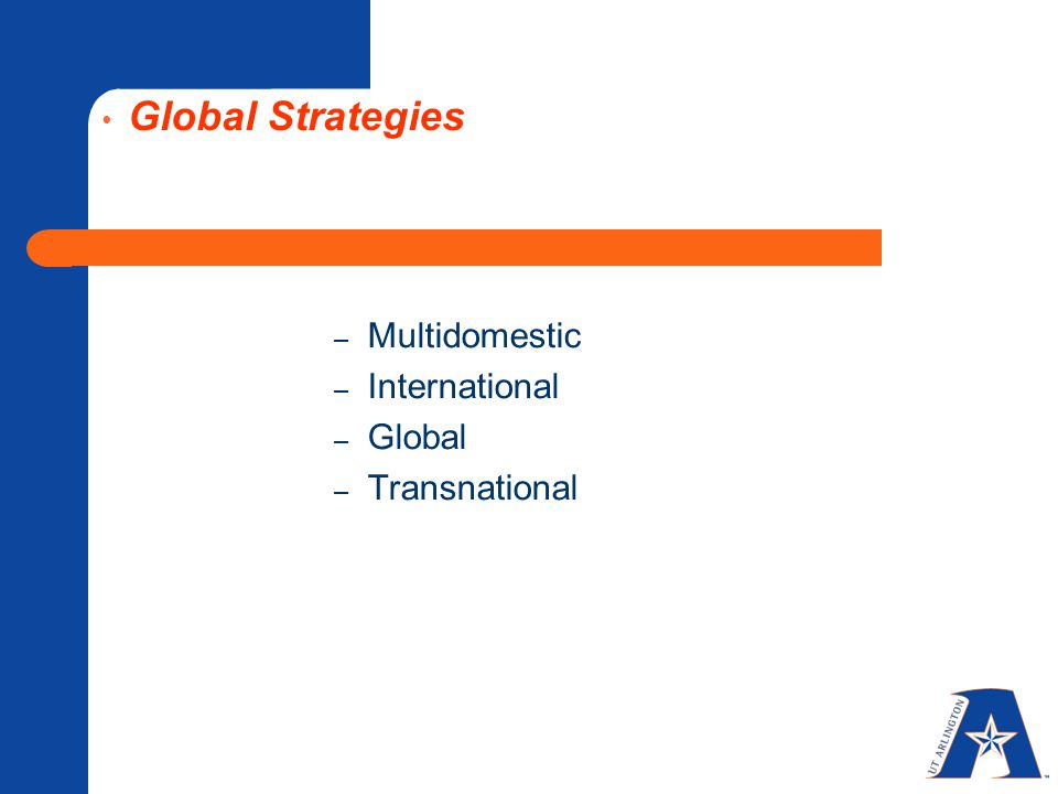 Global Strategies Multidomestic International Global Transnational 18