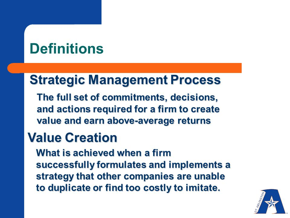 Definitions Strategic Management Process Value Creation