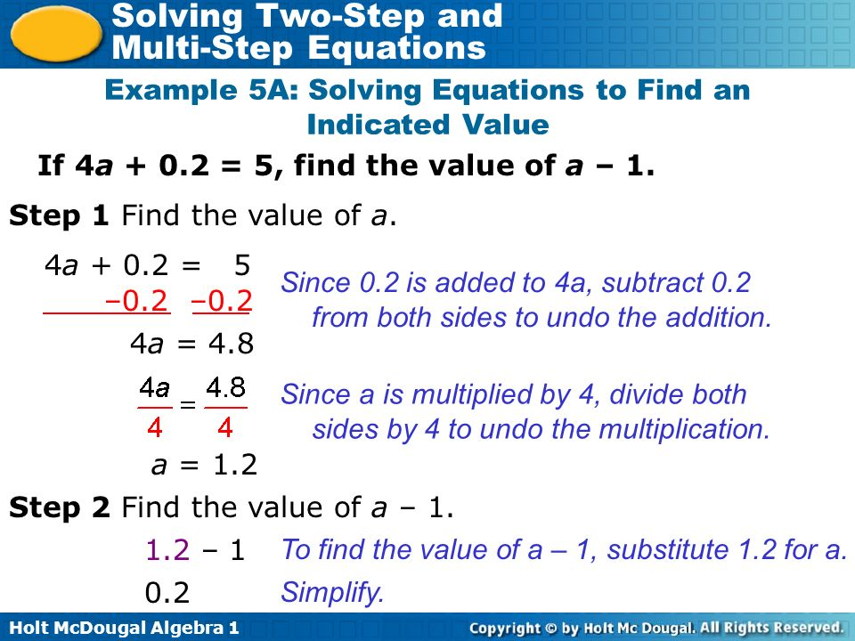 Example 5A: Solving Equations to Find an Indicated Value
