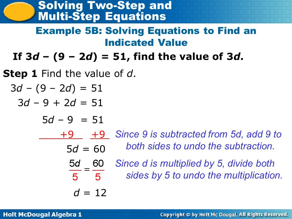 Example 5B: Solving Equations to Find an Indicated Value