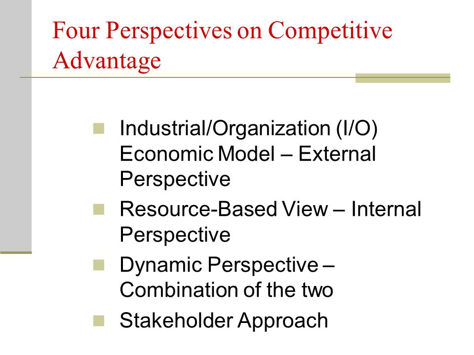 Four Perspectives on Competitive Advantage