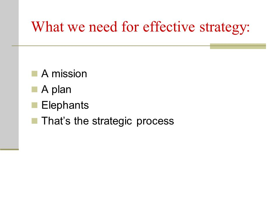 What we need for effective strategy: