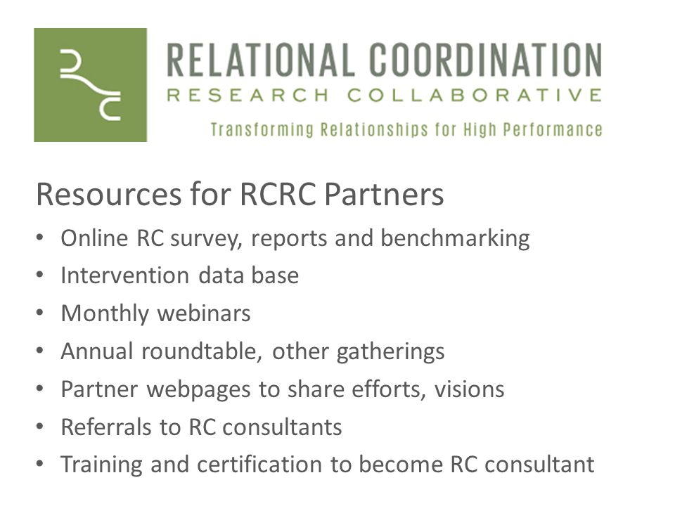Resources for RCRC Partners