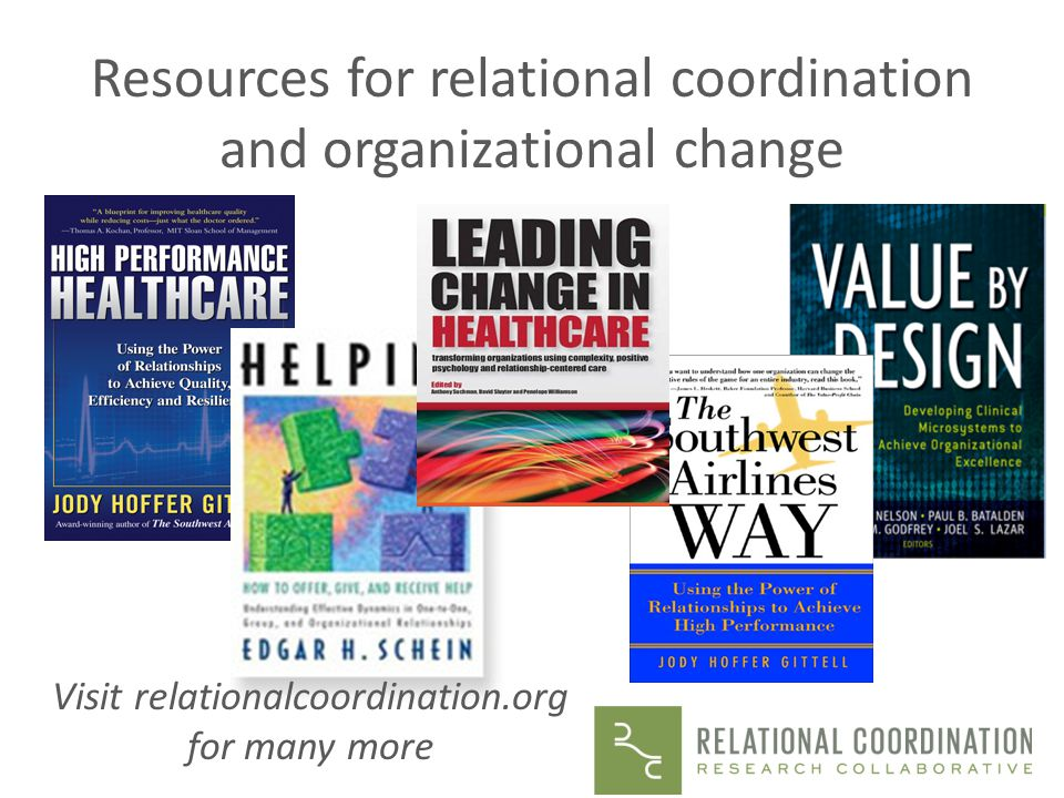 Resources for relational coordination and organizational change
