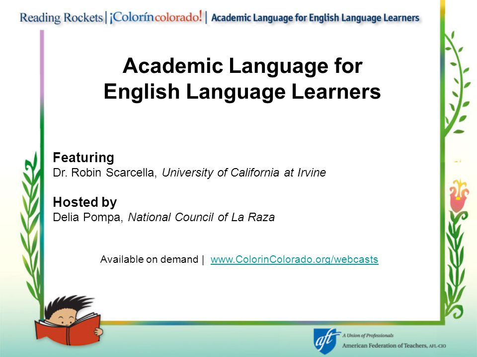 Academic Language for English Language Learners