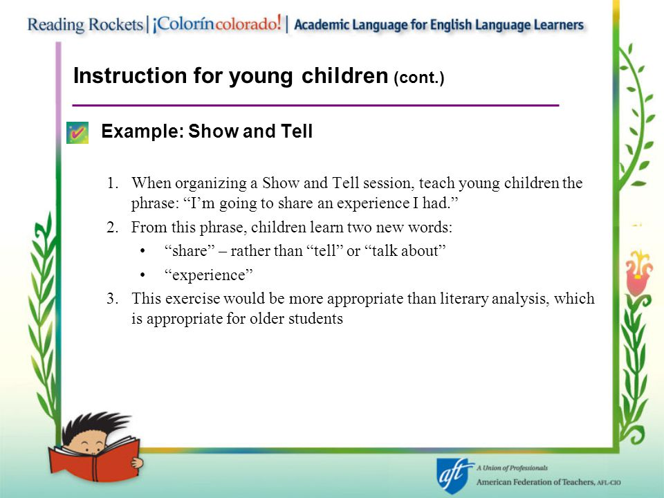 Instruction for young children (cont.)