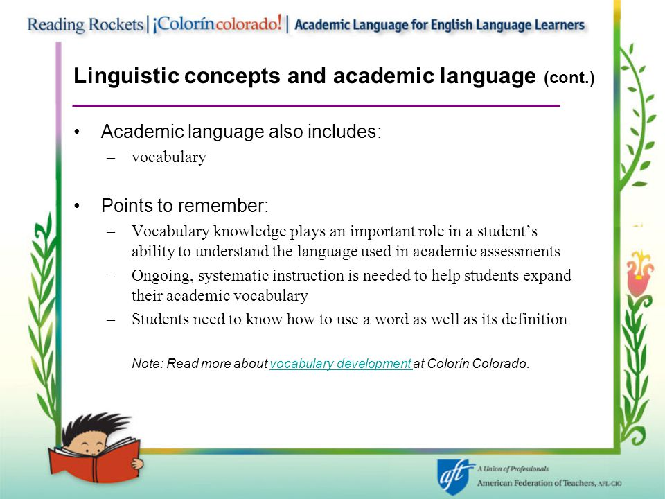 Linguistic concepts and academic language (cont.)