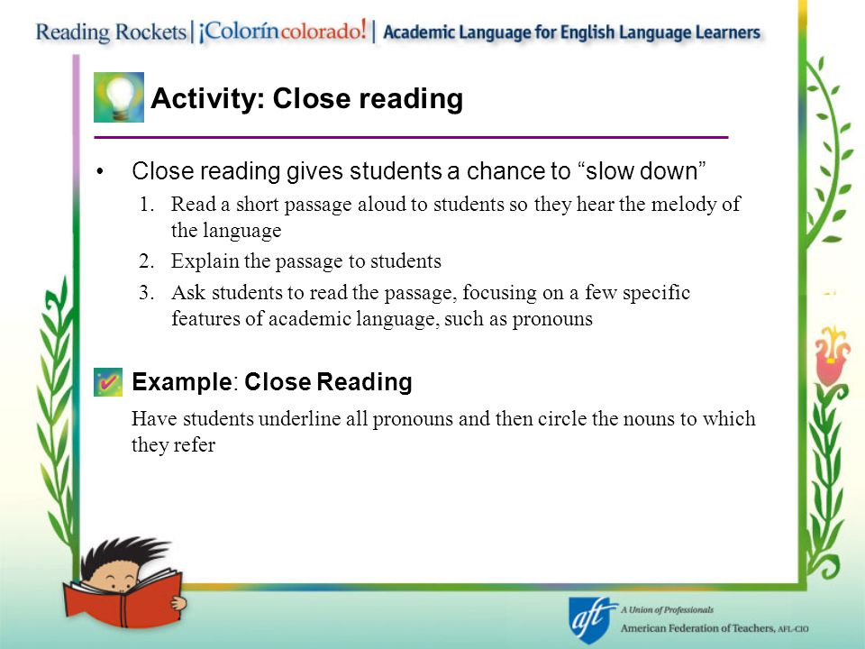 Activity: Close reading