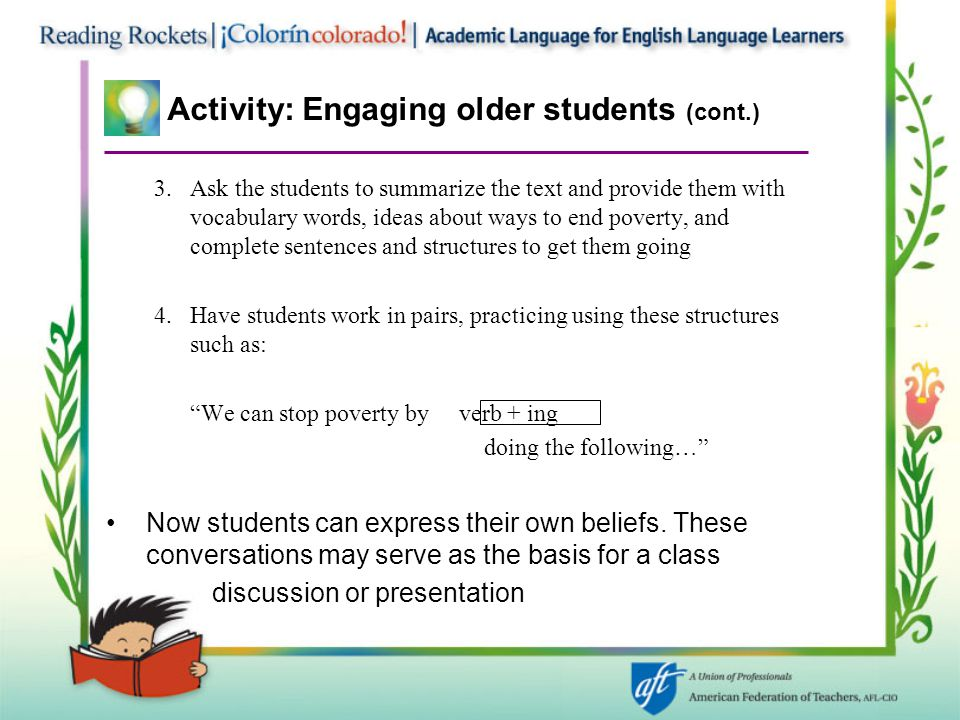 Activity: Engaging older students (cont.)