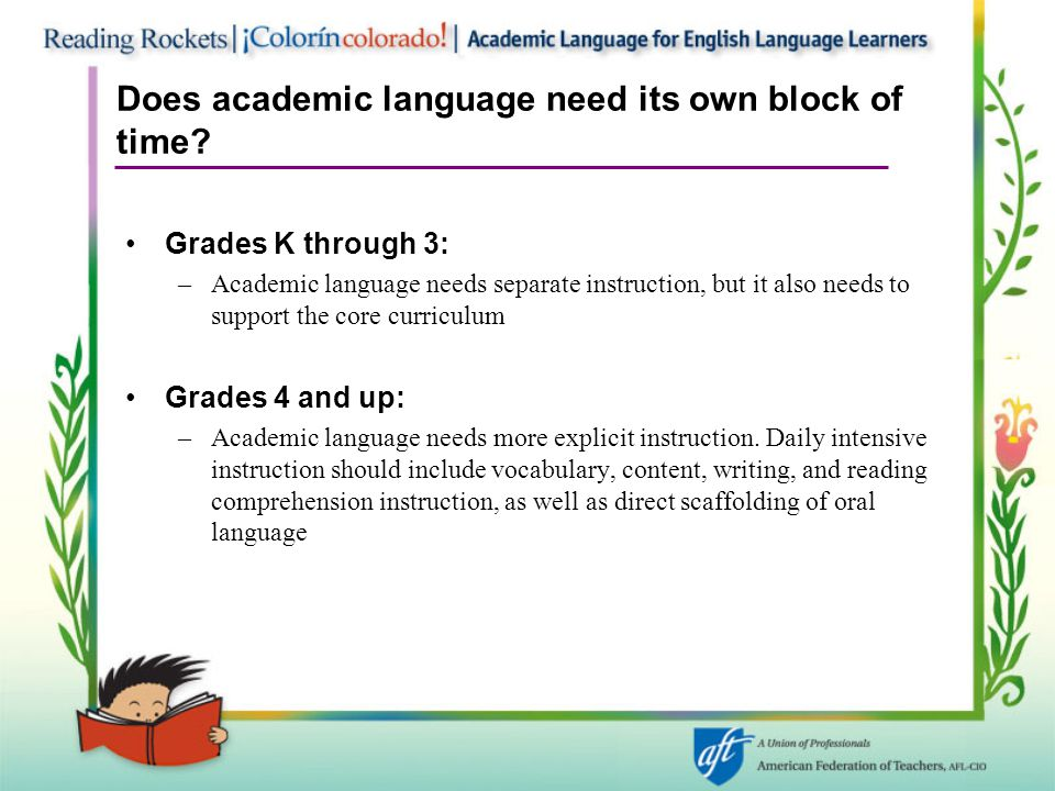 Does academic language need its own block of time