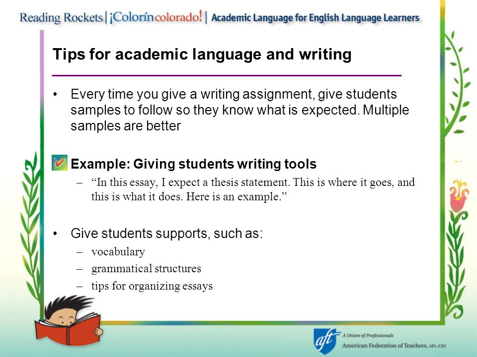 Tips for academic language and writing