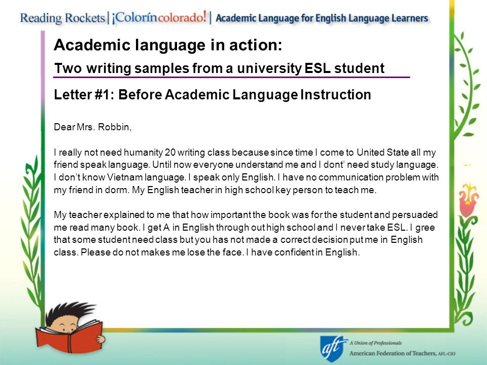 Academic language in action: Two writing samples from a university ESL student