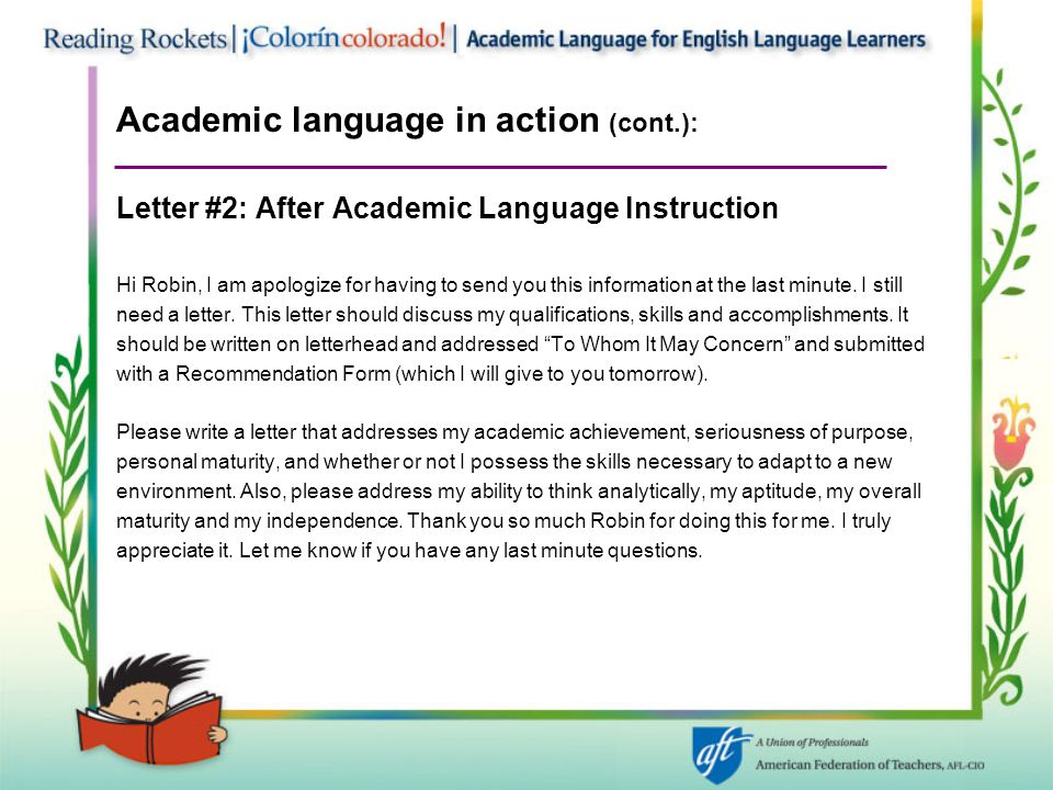 Academic language in action (cont.):