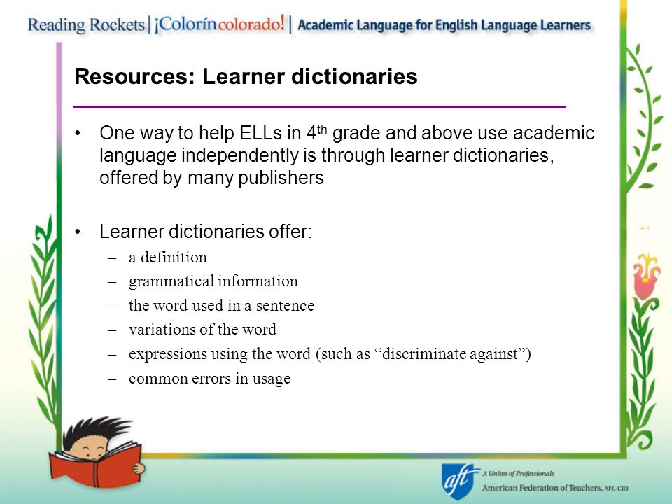 Resources: Learner dictionaries