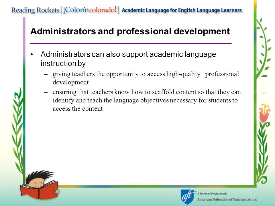 Administrators and professional development
