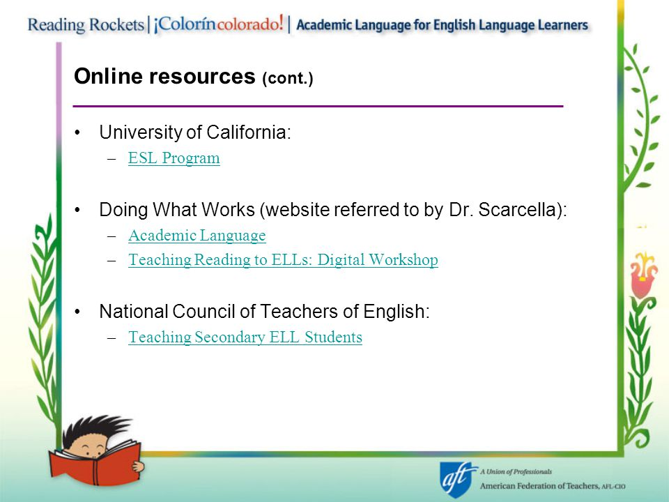 Online resources (cont.)
