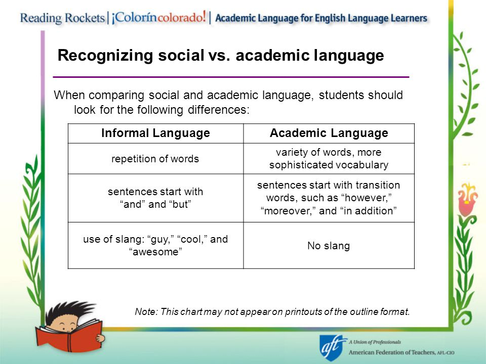 Recognizing social vs. academic language