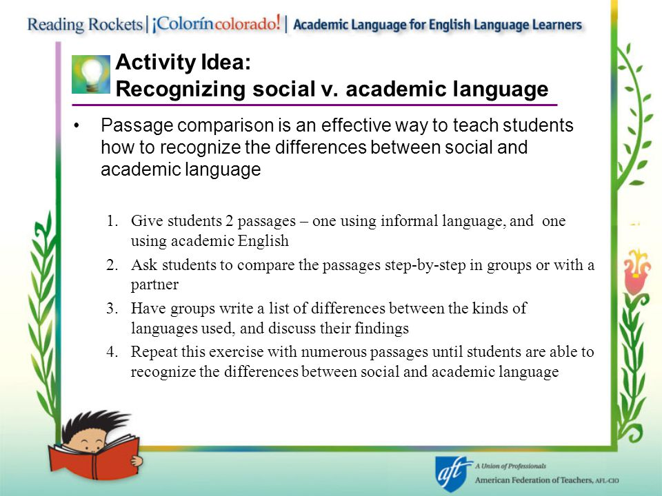 Activity Idea: Recognizing social v. academic language