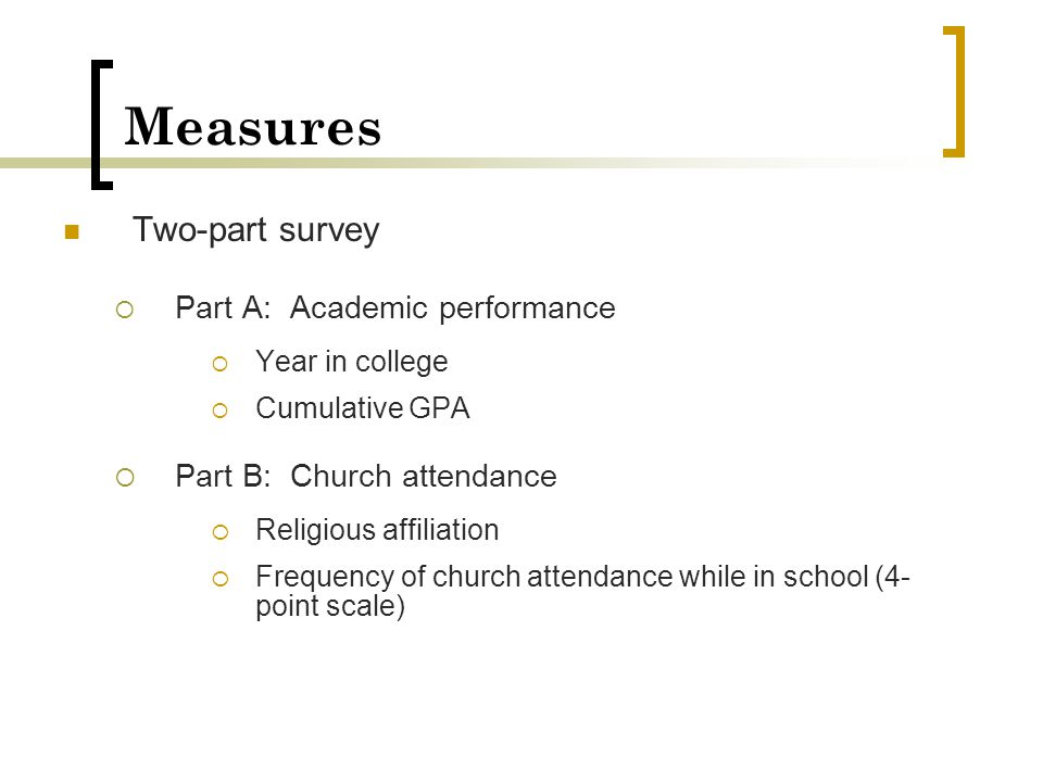 Measures Two-part survey Part A: Academic performance
