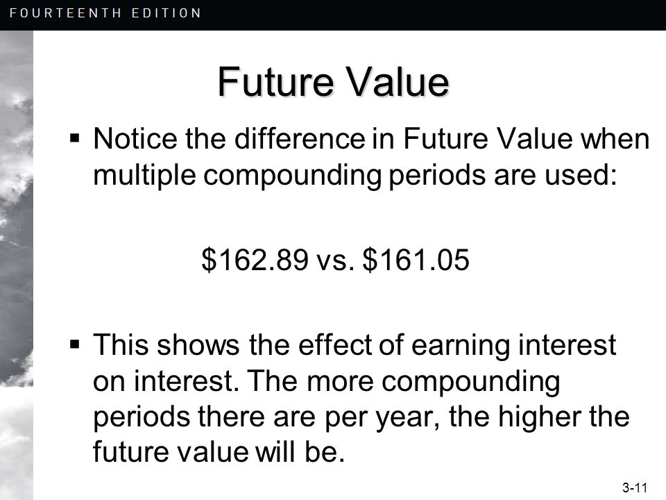 Future Value Notice the difference in Future Value when multiple compounding periods are used: $162.89 vs. $161.05.