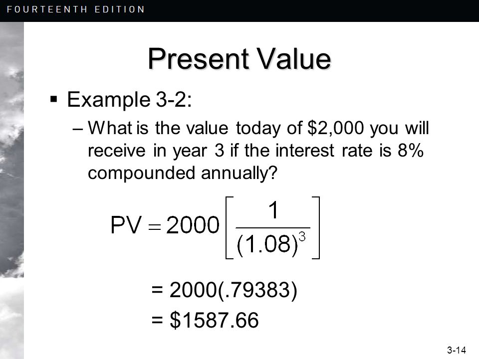 Present Value Example 3-2: = 2000(.79383) = $1587.66