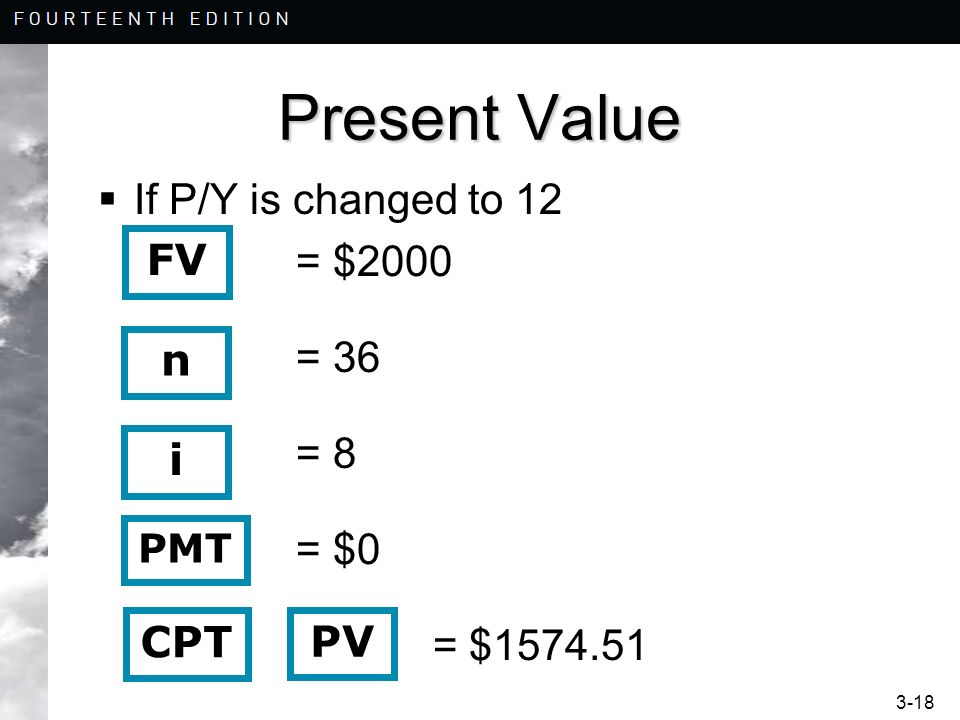 Present Value If P/Y is changed to 12 = $2000 FV n i CPT PV PMT = 36