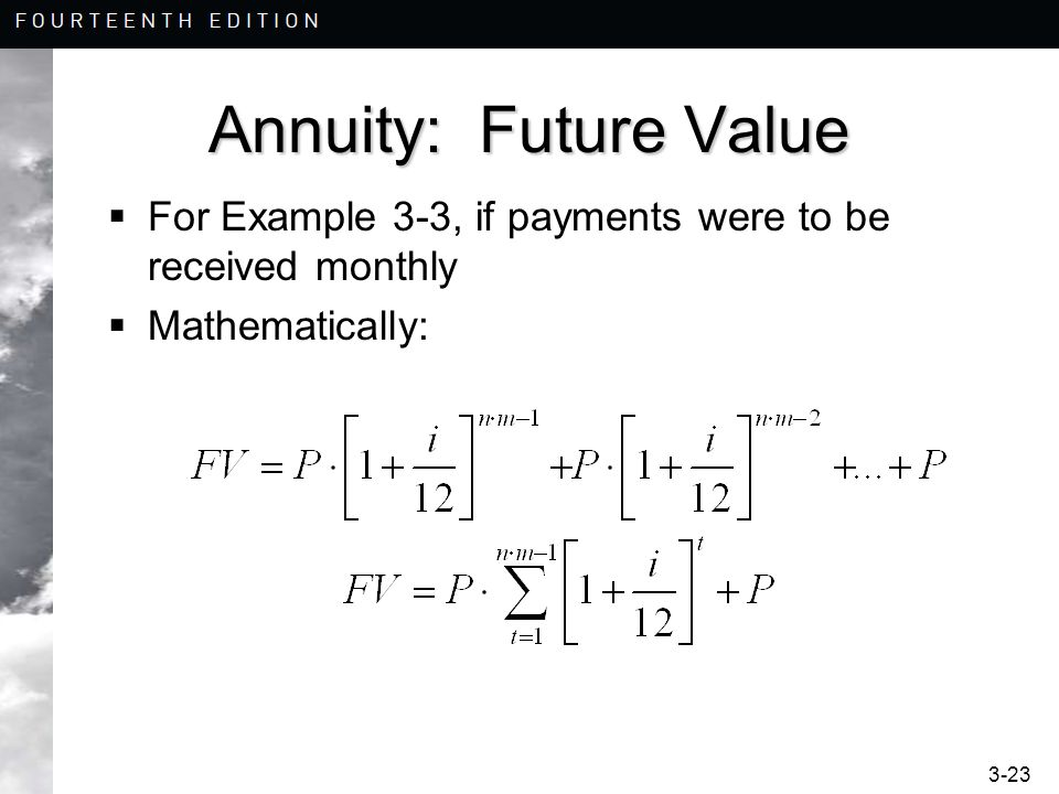 Annuity: Future Value For Example 3-3, if payments were to be received monthly Mathematically: