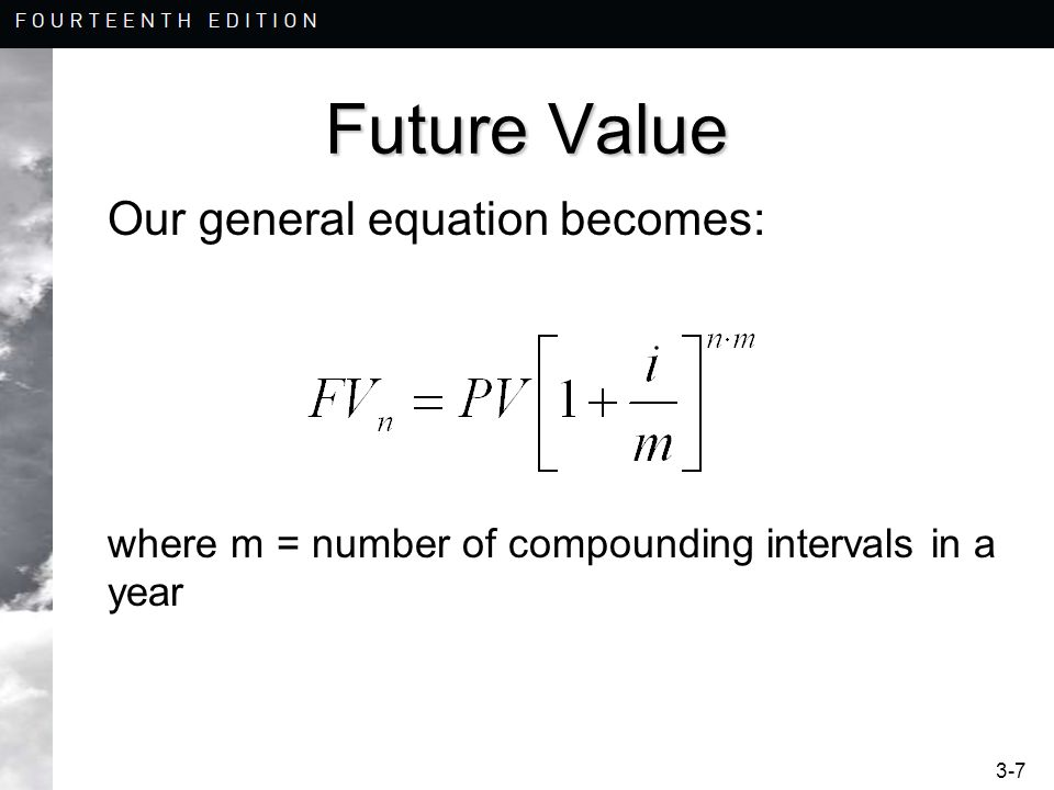 Future Value Our general equation becomes: