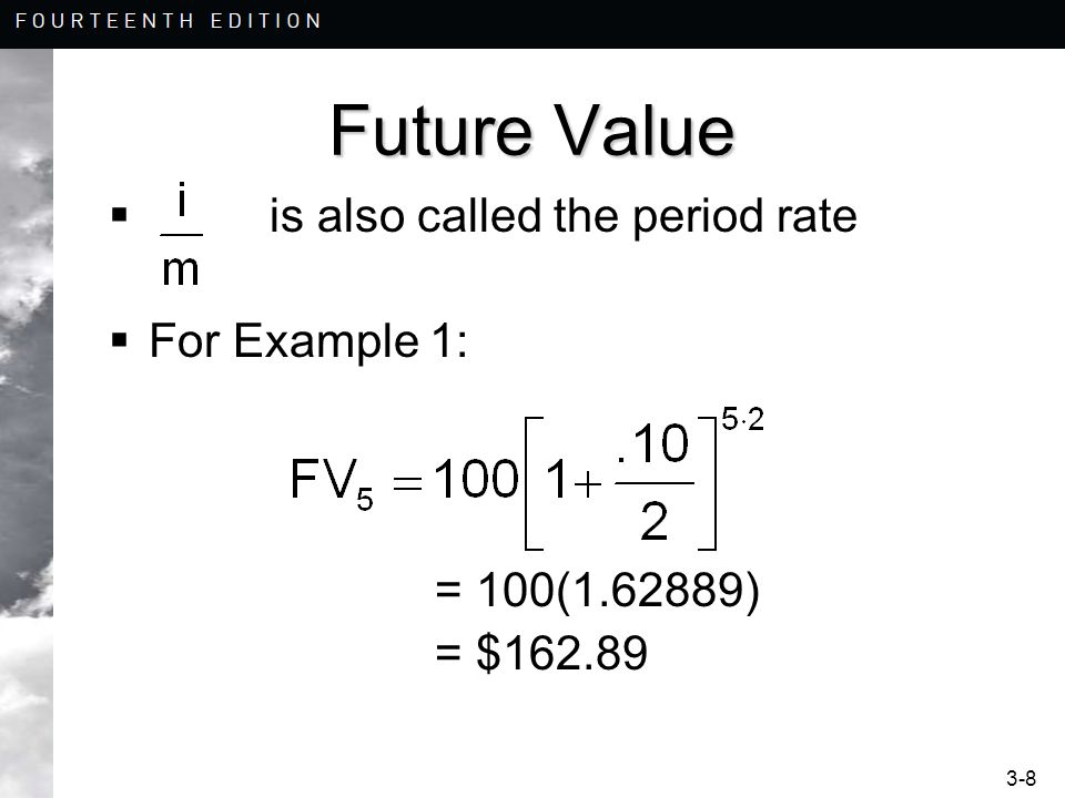 Future Value is also called the period rate For Example 1: