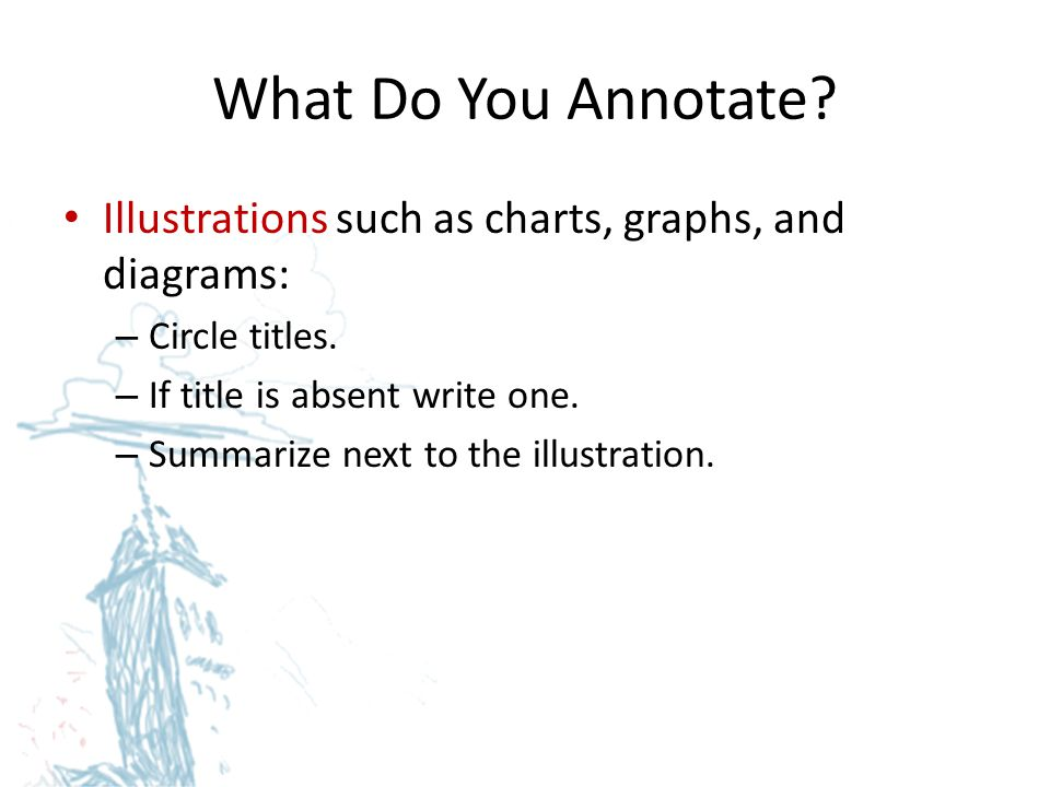 What Do You Annotate Illustrations such as charts, graphs, and diagrams: Circle titles. If title is absent write one.