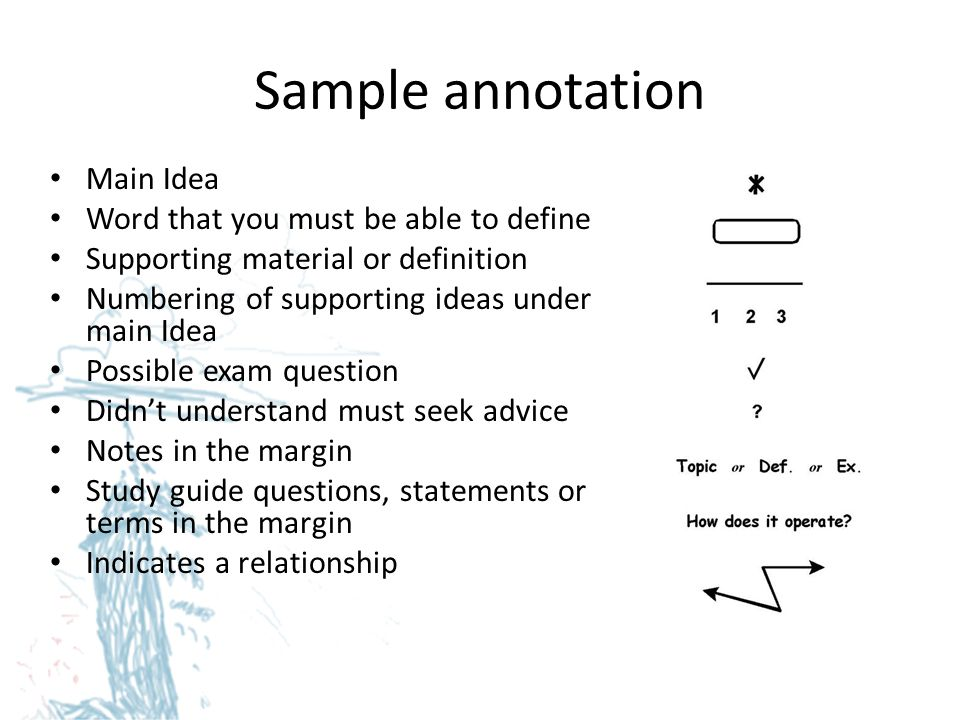 Sample annotation Main Idea Word that you must be able to define